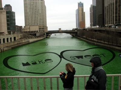 River Dyed Green for Saint Pat's day